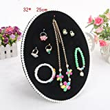 Pearl jewelry display stand,Velvet earring display tray jewelry showcase organizer holder with pearls Vintage jewelry holder organizer-F