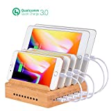 Charging Station for Multiple Devices, Othoking Bamboo Charging Station with Quick Charge 3.0 & 5 Port USB Charger for iPhone 6/6 Plus, iPad Air 2/Mini 3, Samsung Galaxy S7/S6 Edge and More