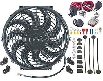 """American V 12 """"Inch eléctrico Automotive Radiador Ventilador y termostato regulable controlador Kit"""