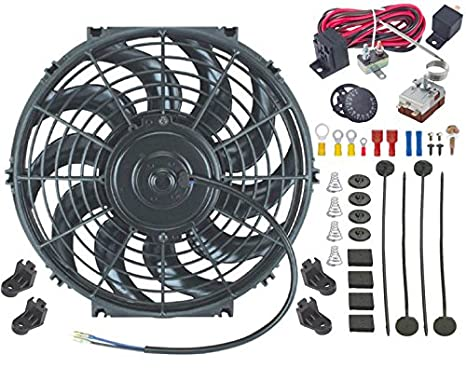 15 Inch American Volt Single 12V Electric Engine Radiator Cooling Fan /& Adjustable Temp Thermostat Controller Kit