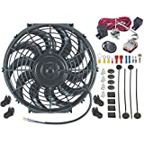 """American Volt 12"""" Inch Electric Automotive Radiator Fan & Adjustable Thermostat Controller Kit"""