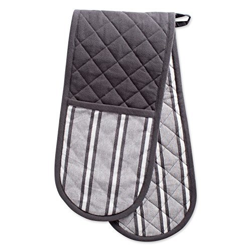 (DII Cotton Stripe Quilted Double Oven Mitt, 35 x 7.5