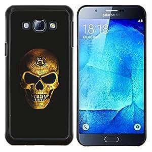 """Be-Star Único Patrón Plástico Duro Fundas Cover Cubre Hard Case Cover Para Samsung Galaxy A8 / SM-A800 ( Cráneo del oro Nefarious motorista Bling Scary"""" )"""