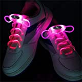 Welsun Pink LED Light Up Shoelaces 80cm Glow Shoelaces LED Sport Shoe Laces Glow Stick Flashing Neon Luminous Laces 1 Pair