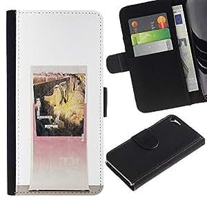 For Apple Iphone 5 / 5S Case , Canyon Vintage Poster Art - la tarjeta de Crédito Slots PU Funda de cuero Monedero caso cubierta de piel