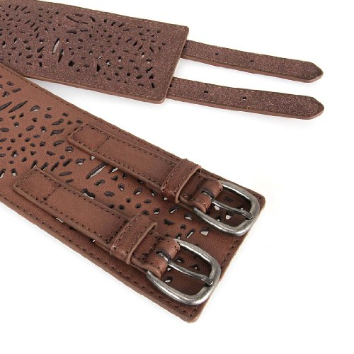 BMC Womens Double Buckle Style Thick Wide Elastic Brown Cut Out Faux Leather High Waist Fashion Belt