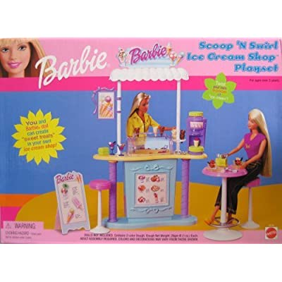 Barbie Scoop 'N Swirl Ice Cream Shop Playset w Ice Cream Counter & MORE! (2000): Toys & Games
