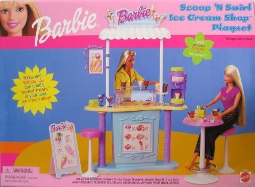 B000OC89S4 Barbie Scoop 'N Swirl Ice Cream Shop Playset w Ice Cream Counter & MORE! (2000) 51nLQbueyQL.
