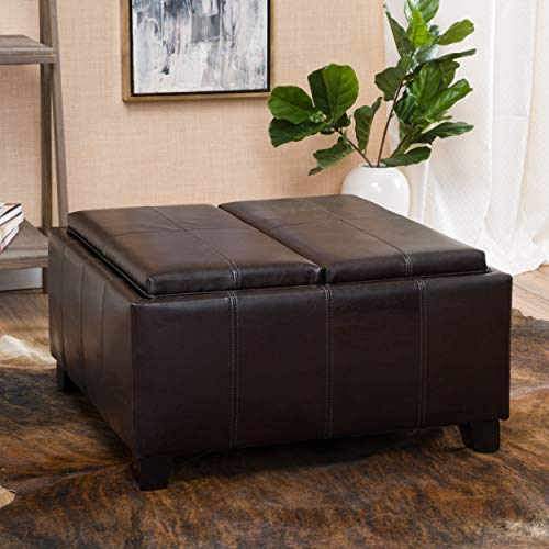 Round Tray Storage Ottoman (Christopher Knight Home 296879 Living Justin Brown Leather Tray Top Storage Ottoman,)
