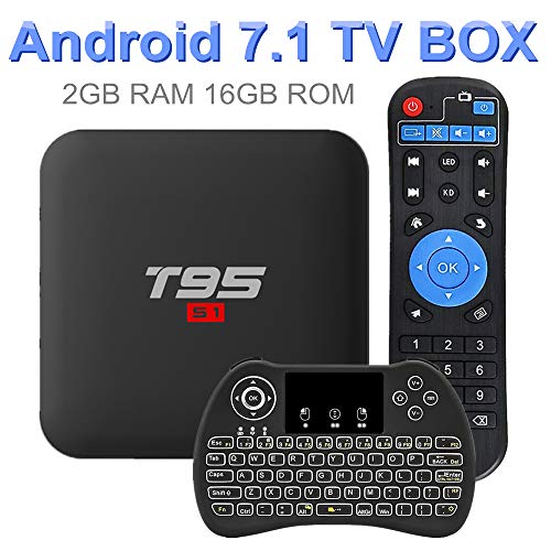 Android 7.1 TV Box, EVANPO 2GB/16GB Quad Core Processor Support 3D 4K H.265 Smart Boxes Android TV Player Set Top Box with Wireless Mini Keyboard (Backlit)