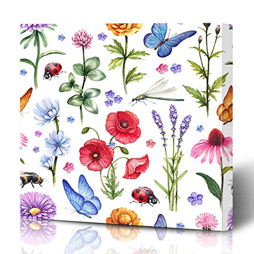 Ahawoso Canvas Prints Wall Art 12x12 Inches Ladybug Pattern Wild Flowers Insect Watercolor Summer Field Nature Dragonfly Bee Butterfly Hand Drawn Leaf Decor for Living Room Office Bedroom