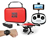 World Tech Toys Elite Recon Follow Me GPS Live View 4K Camera 2.4GHz 4.5 Channel Remote Control Quadcopter Drone, Red, 12.25 x 12 x 6