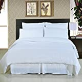 Royal Hotel's Solid White 600-Thread-Count 4pc King Bed Sheet Set and 3pc Duvet-Cover-Sets 100-Percent Cotton, Sateen Solid, Deep Pocket