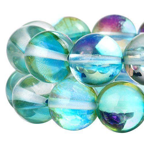(RUBYCA Round Moonstone Crystal Glass Beads Aura Iridescent for Jewelry)