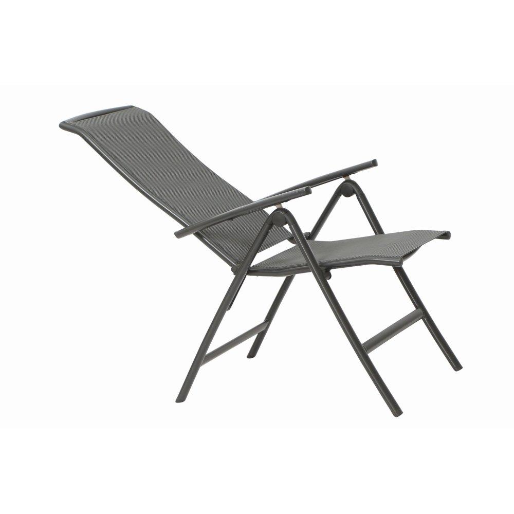 Siena Garden 255129/Sedia Pieghevole Atlanta Plus Struttura in Alluminio Antracite ranotex Tessuto/® 2/* 1/Grigio Schienale Regolabile