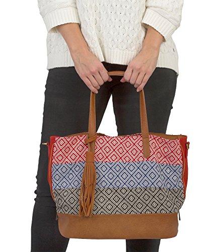 cb6d91e14664e ... SIX SALE Festival große Damen Handtasche Ethno Shopper Rot Blau Schwarz  Weiß braune Quaste abnehmbarer Umhängeriemen