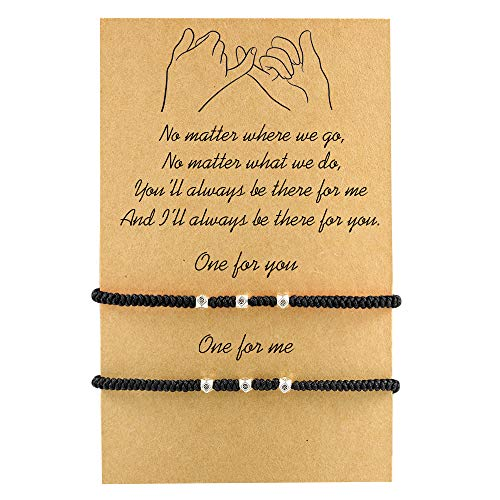 MANVEN Friendship Distance Couples Bracelets Handmade Rope Braided Adjustable Boyfriend Girlfriend His and Hers Pinky Promise BFF Bracelet for 2