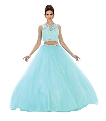 2 Pieces Party Dresses Girls 2018 Crystal Beads Sequins Lace Tulle Prom Gowns Evening Dresses Aqua