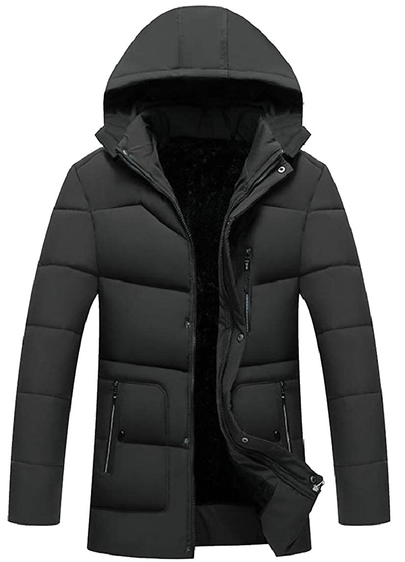 GAGA Mens Winter Thickened Zip Front Warm Hooded Down Quilted Coat Jacket Overcoat