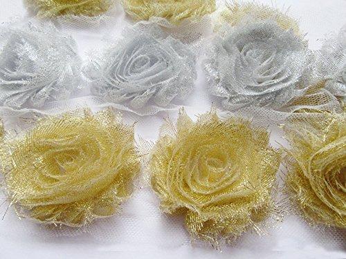 Embellishments Fabric Scrapbooking (YYCRAFT Glitter Shabby Chiffon Flowers 2.5