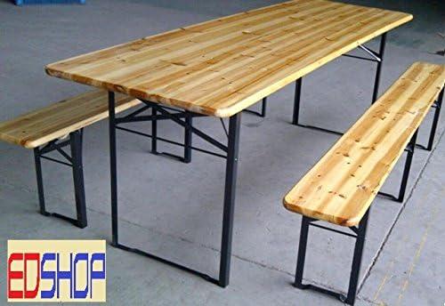 Set de mesa de madera con 2 bancos plegables para exterior ...