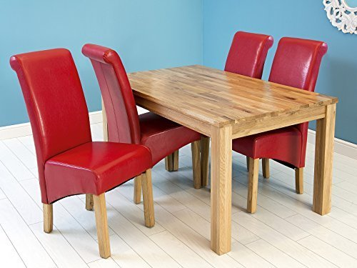 Home Source Solid Square Butchers Block Design Dining Table Wood - Oak butcher block table top