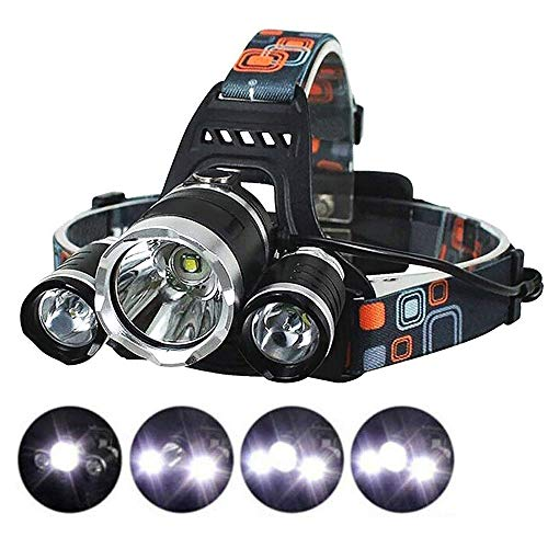 LED Headlamp Camping Headlamps Ultra Bright 3xCREE XM-L T6 LED Focus Waterproof Headlight Rechargeable Batteries Headlamp Flashlight for Hiking Camping Climbing Cycling Fishing Hunting Security Light Review