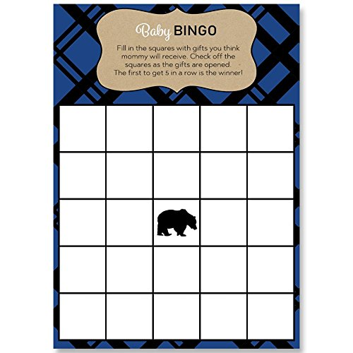 Bingo Games, Lumberjack Baby Shower, White, Blue, Black, Tan, Plaid, Rustic, Mama Bear, Baby Bear, Baby Shower Games, 24 Printed Game Cards by The Invite Lady