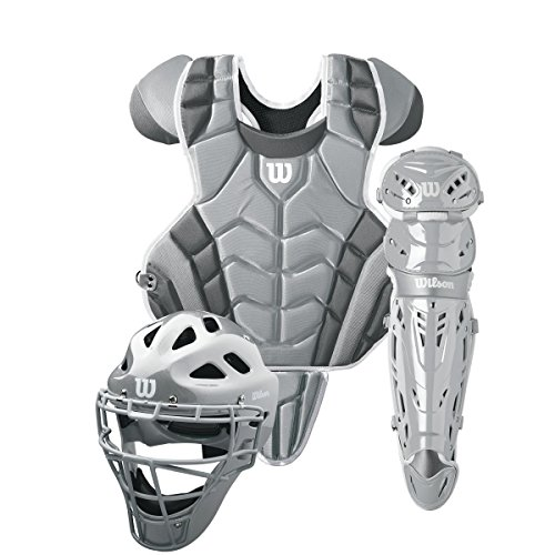 Wilson C1K Intermediate Catcher's Gear Kit, Silver/White