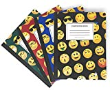 Book Sox EMOJI Composition Notebooks, Wide Ruled, 100 sheets, 9-3/4'' x 7-1/2'', 4-Pack