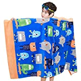 Wowelife Baby Bath Towels for Bath, Pool and Beach 100% Cotton 30 x 63 inch Extended Length for Both Children and Adults(Little Monsters)