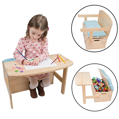 Wooden Desk and Chair Set w/ Toy Box Storage - Converts to Bench - Includes Blue Cushion 25 x 22 x 13 in (Wooden Bench Old)