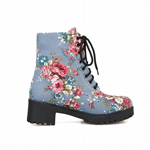 Carolbar Womens Mode Confort Imprimé Floral Demin Tissu Lace Up Mi-talon Martin Bottes Bleu Clair