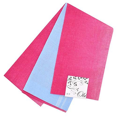 事業想定する繊細[ KIMONOMACHI ] 麻 半幅帯「濃いピンク×水色」
