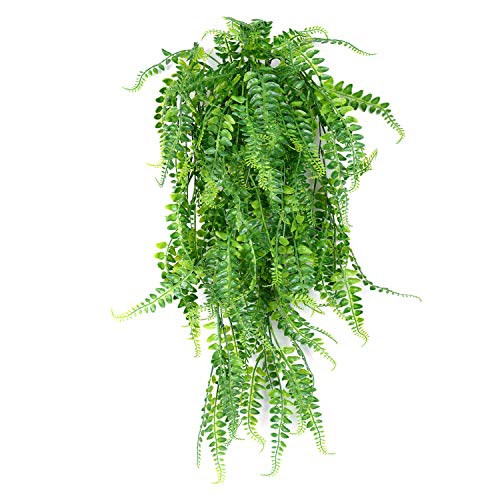 (SzJias 2 Pcs Artificial Plants Greenery Ferns Vines Fake Ivy Hanging Flowers Vine UV Resistant Plastic Plant for Wall Indoor Outdoor Hanging Baskets Wedding Garland Decor)