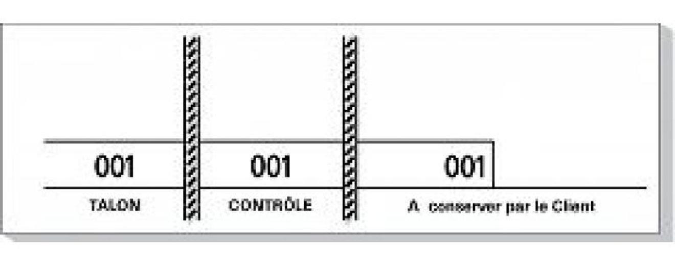 Mondial-fete - Carnet de 100 tickets blancs numérotés 3 souches -48 x 150 mm