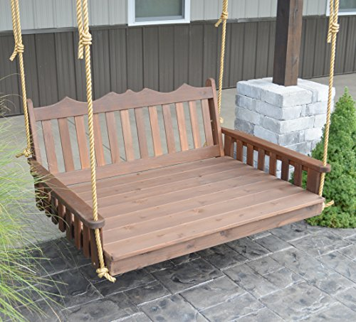 (Aspen Tree Interiors Best Porch Swing Bed, Outdoor Swinging Daybed, Patio Day Bed Swings, Hanging 3 Person Bench, Unique Western Red Cedar Outside Furniture Decor, English Garden (5 Ft Walnut))