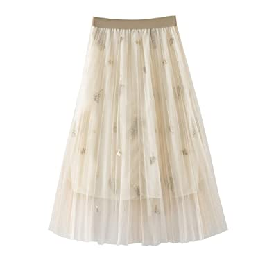Yuwegr - Falda Plisada de Tul Brillante para Mujer Beige Beige ...