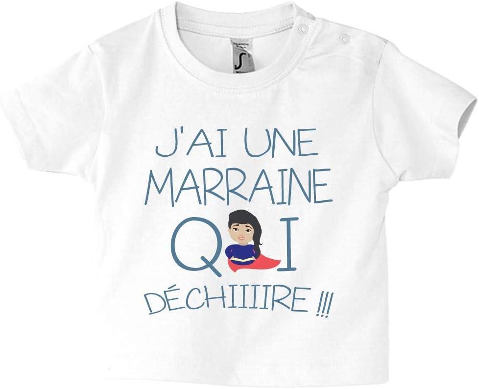 3//6 Mois Rose Tee-shirt humour marraine qui d/échire cadeau de naissance enfant fille et gar/çon T-shirt b/éb/é
