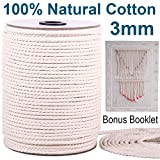 XKDOUS Macrame Cord 3mm x 220Yards, Natural