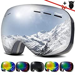 Multifunctional dual-lens goggles featuredwith anti-fog, anti-wind and 100% UV protection to protect your eyes whenskiing, snowboarding, snowmobiling and other snow sports. Safe Qinner ski goggles--Clear vision atday & night in all weathe...