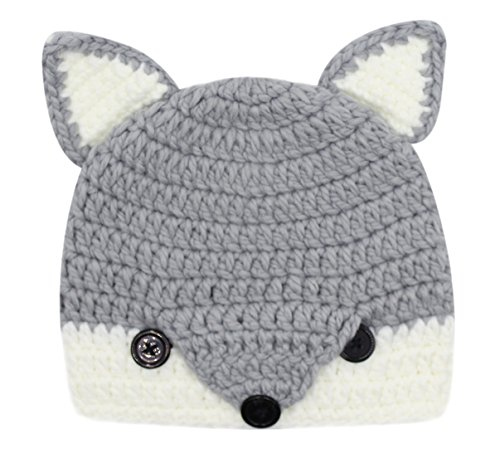 Baby Toddler Cute Fox Animal Design Knitted Hat Crochet Hooded Cap Photography Props Beanies Gray -