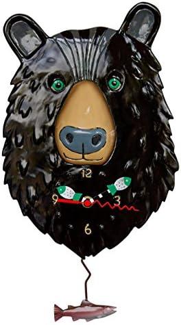 """Allen Designs """"Burly Bear"""" Whimsical Bear Face Pendulum Wall Clock"""