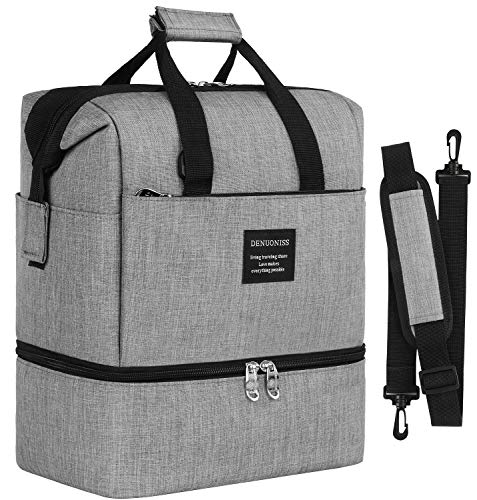 Insulated Lunch Box Lunch Bag for Adults Men Women, Water Resistant Leakproof Soft Cooler Bag for Work,School,Meal Prep,Dual Compartment,10L 12 Can,Grey