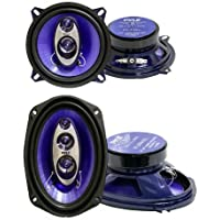 2) Pyle PL53BL 5.25 200W 3-Way + 2) PL6984BL 6x9 400 Watts 4-Way Car Speakers