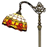 Tiffany Floor Lamp Arched Style Stained Glass Reading Standing Light Cream Red Tulip Flower Lampshade 64 Inch Tall for Bedroom Living Room Dresser Coffee Table S030 WERFACTORY (S030)