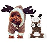 Christmas Reindeer Dog Pet Cat Outfit Costume Clothes Winter Warm Fleece Dog Coat