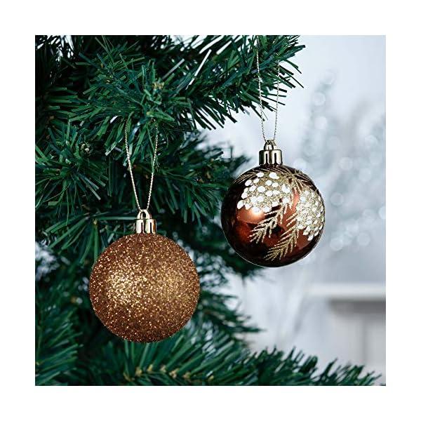 Valery Madelyn Palle di Natale 9 Pezzi 6cm Palline di Natale, Rame da Bosco e Oro Infrangibile Palla di Natale Ornamenti Decorazione per la Decorazione Dell'Albero di Natale 4 spesavip