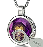 925 Sterling Silver I Love You Necklace 120 Languages 24k Gold Inscribed Purple CZ Halo Pendant, 18''