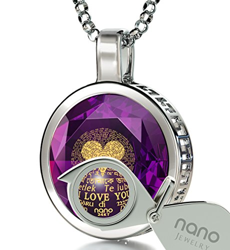 925 Sterling Silver I Love You Necklace 120 Languages 24k Gold Inscribed Purple CZ Halo Pendant, 18'' by Nano Jewelry